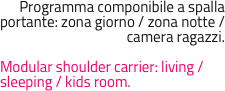 Programma componibile a spalla portante: zona giorno / zona notte / camera ragazzi.  Modular shoulder carrier: living / sleeping / kids room.